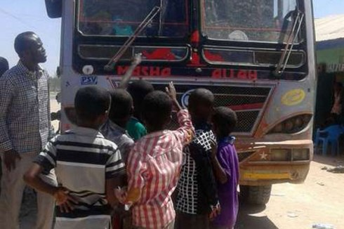 The bus Al-Shabaab militants attacked in Mandera on December 21, 2015 killing one person and injuring three others. PHOTO | MANASE OTSIALO | NATION MEDIA GROUP